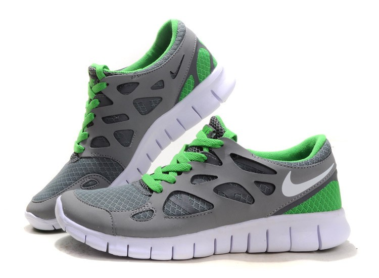 Nike Free Run 2 Womens Running Shoes Grey White Green