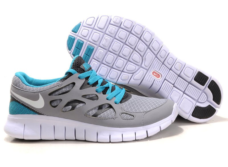 Nike Free Run 2 Womens Running Shoes Grey White Teal Blue