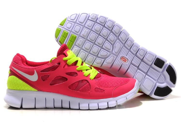 Nike Free Run 2 Womens Running Shoes Pink White Lime Yellow