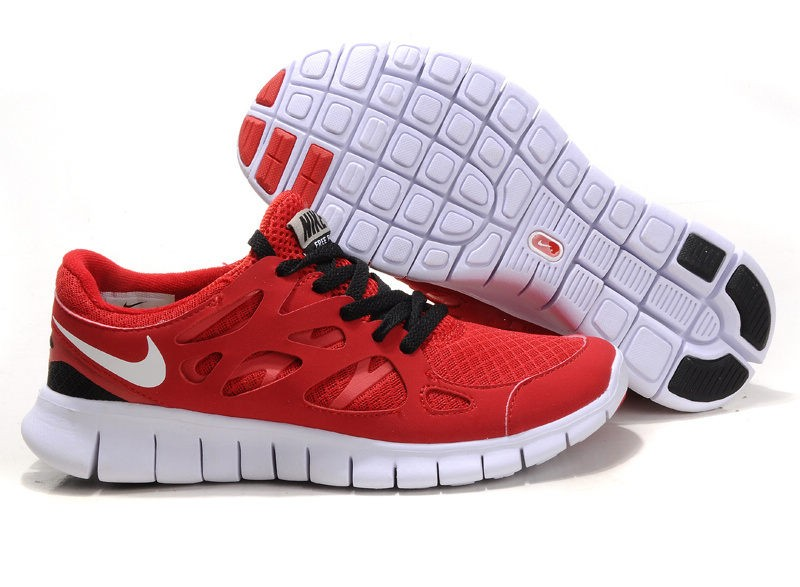 Nike Free Run 2 Womens Running Shoes Red White Black