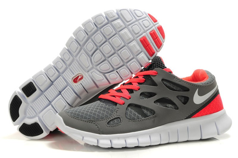 Nike Free Run 2 Womens Running Shoes Stealth Grey White Solar Red