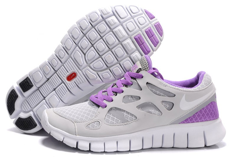 Nike Free Run 2 Womens Running Shoes Stealth White Purple Grey