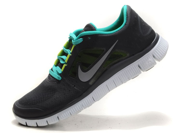 Nike Free Run 3 Womens Running Shoes Black Green