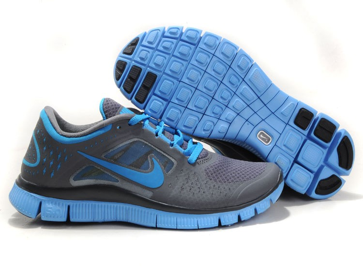 Nike Free Run 3 Womens Running Shoes Dark Grey University Blue