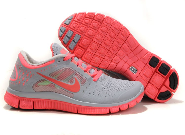 Nike Free Run 3 Womens Running Shoes Grey Pink