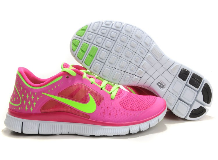 Nike Free Run 3 Womens Running Shoes Pink Green