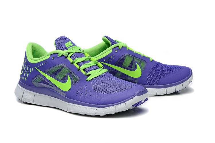 Nike Free Run 3 Womens Running Shoes Purple Fluorescence Green