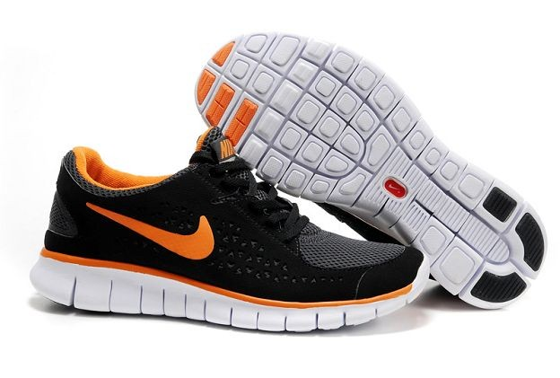Nike Free Run Mens Shoes Black Grey Total Orange