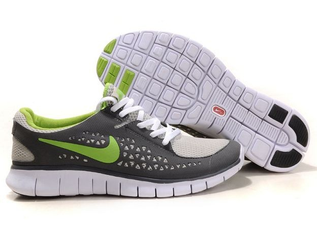 Nike Free Run Mens Shoes Dark Grey White Green