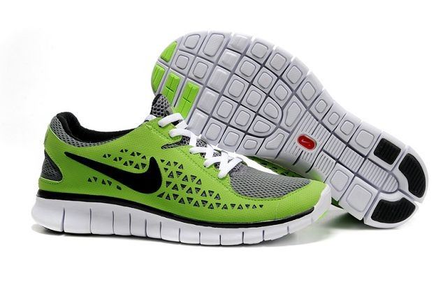 Nike Free Run Mens Shoes Grey Green Black