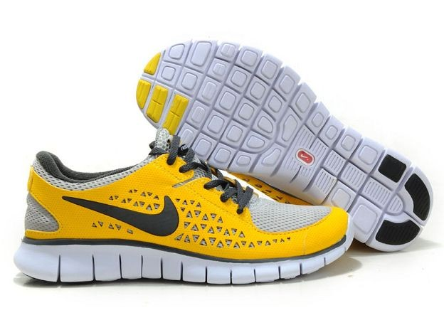 Nike Free Run Mens Shoes Grey Varsity Yellow Black