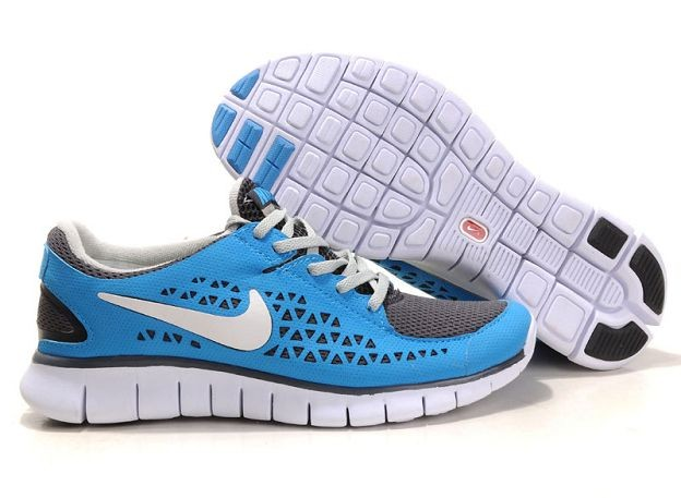 Nike Free Run Mens Shoes Royal Grey White