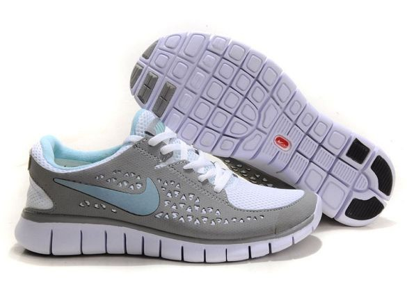 Nike Free Run Womens Shoes Dark Grey White Water Blue