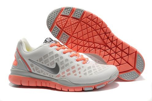 Nike Free TR Fit 2 Womens Running Shoes Granite White Metallic Silver Orange