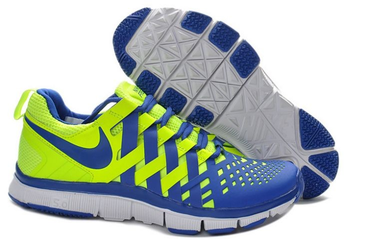 Nike Free Trainer 5.0 V4 Mens Volt White Hyper Blue Training Shoes