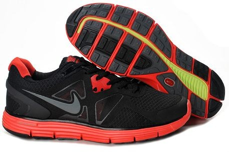 Nike LunarGlide+ 3 Men's Running Shoes Black Red