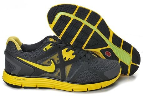 Nike LunarGlide+ 3 Men's Running Shoes Dark Grey Yellow