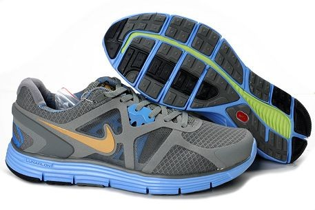 "Nike LunarGlide+ 3 Men's Running Shoes ""Liu Xiang"" Grey Metallic Gold Cosmic Blue"