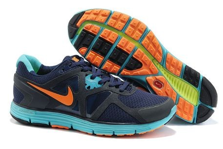 Nike LunarGlide+ 3 Men's Running Shoes Navy Photo Blue Orange