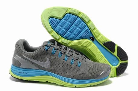 Nike LunarGlide+ 4 Premium Men's Running Shoes Suede Stealth Silver Electric Green Blue