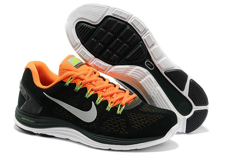 Nike LunarGlide Plus 5 Mens Army Green Orange Running Shoes