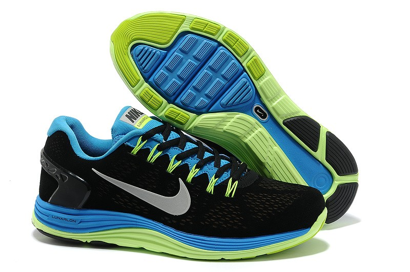 Nike LunarGlide Plus 5 Mens Black Royalblue Running Shoes