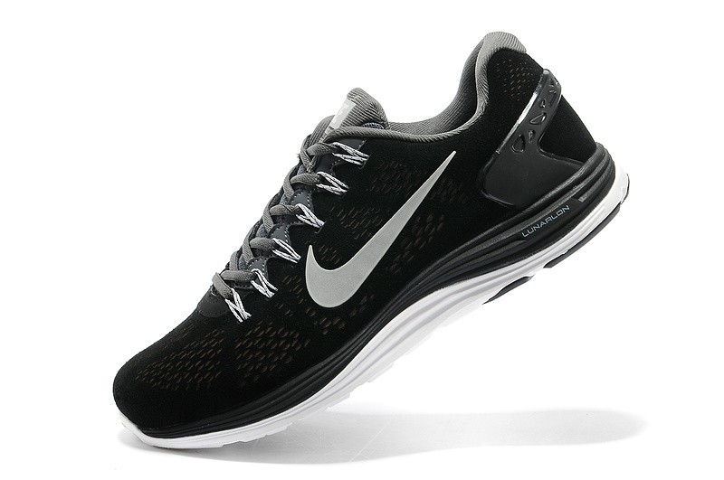 Nike LunarGlide Plus 5 Mens Black White Running Shoes
