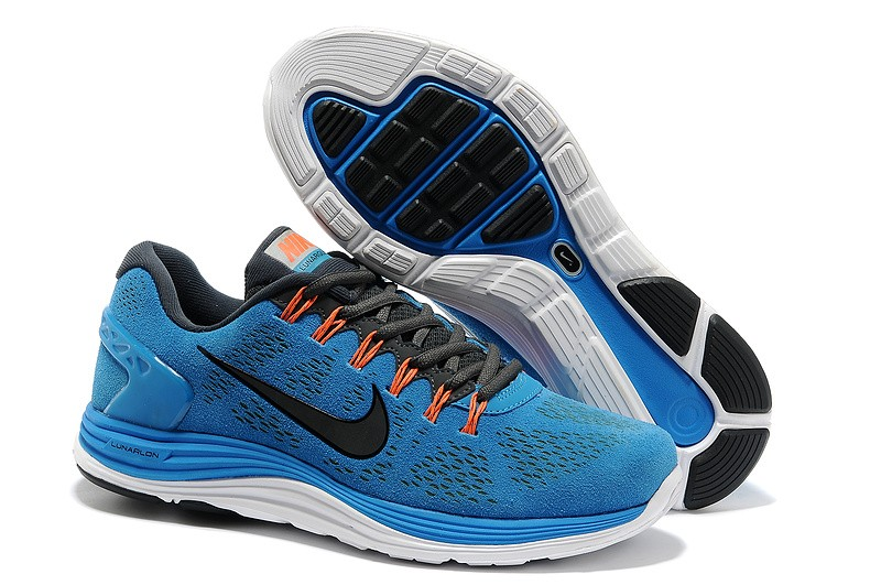 Nike LunarGlide Plus 5 Mens Sky Blue White Running Shoes