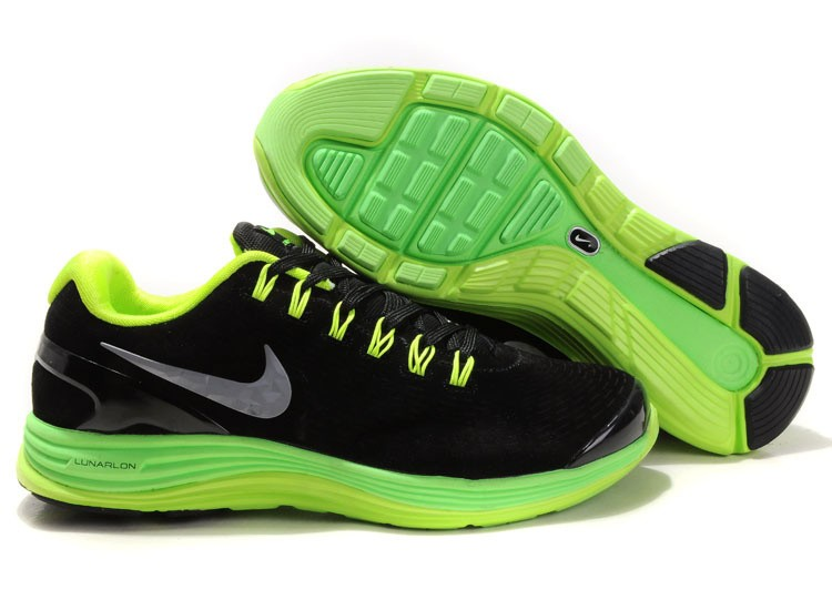 Nike Lunarglide 4 Mens Running Shoes Black Fluorescent Green
