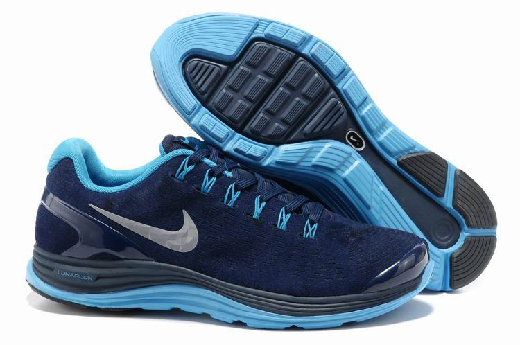 Nike Lunarglide 4 Mens Running Shoes Midnight Navy Reflective Silver Blue Glow