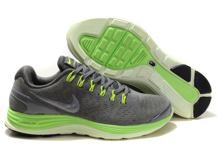 Nike Lunarglide 4 Mens Running Shoes Stealth Reflective Silver Electric Green