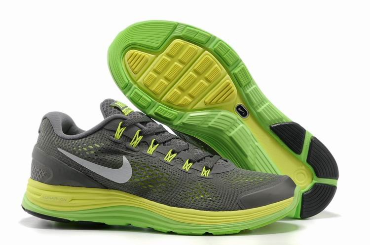 Nike Lunarglide 4 Mens Running Shoes Wolf Grey Yellow Green
