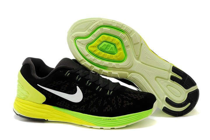 Nike Lunarglide 6 Anti-Fur Mens Shoes Black Fluorescence Yellow