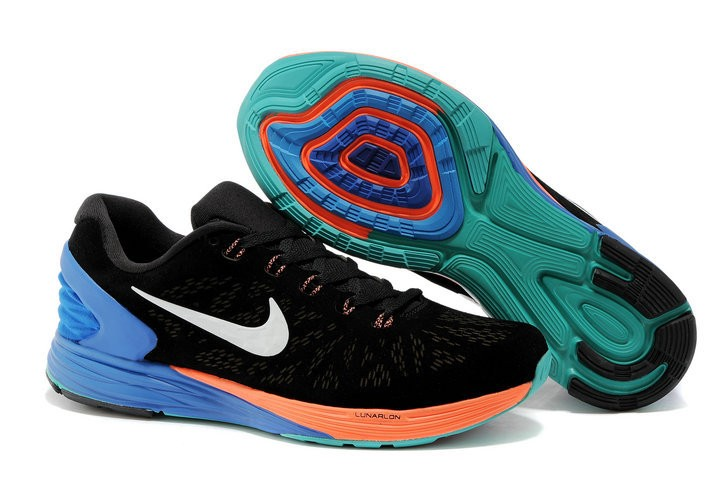 Nike Lunarglide 6 Anti-Fur Mens Shoes Black Orange Blue