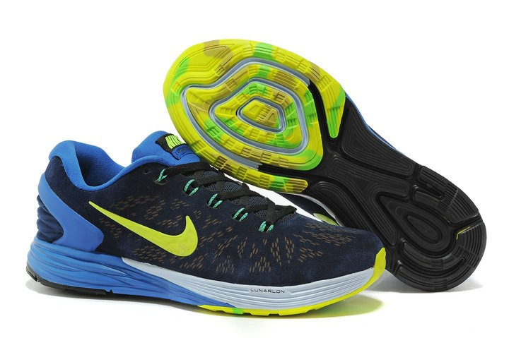 Nike Lunarglide 6 Anti-Fur Mens Shoes Dark Blue Royalblue Yellow
