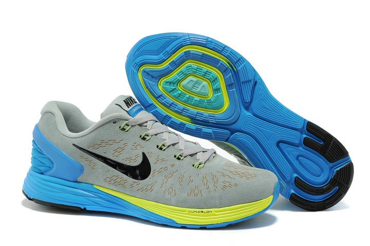 Nike Lunarglide 6 Anti-Fur Mens Shoes Light Grey Royalblue Yellow