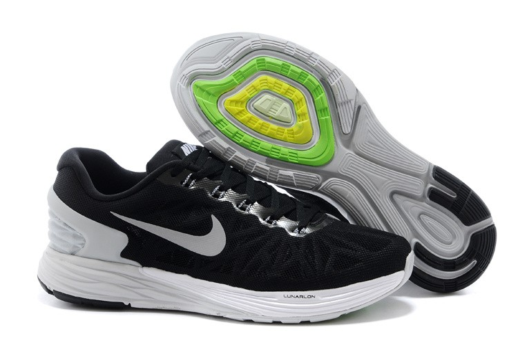 Nike Lunarglide 6 Mens Running Shoes Black White