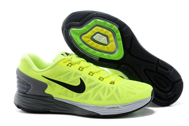 Nike Lunarglide 6 Mens Running Shoes Fluorescence Green Grey Black