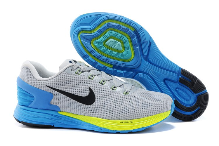 Nike Lunarglide 6 Mens Running Shoes Light Grey Blue Yellow