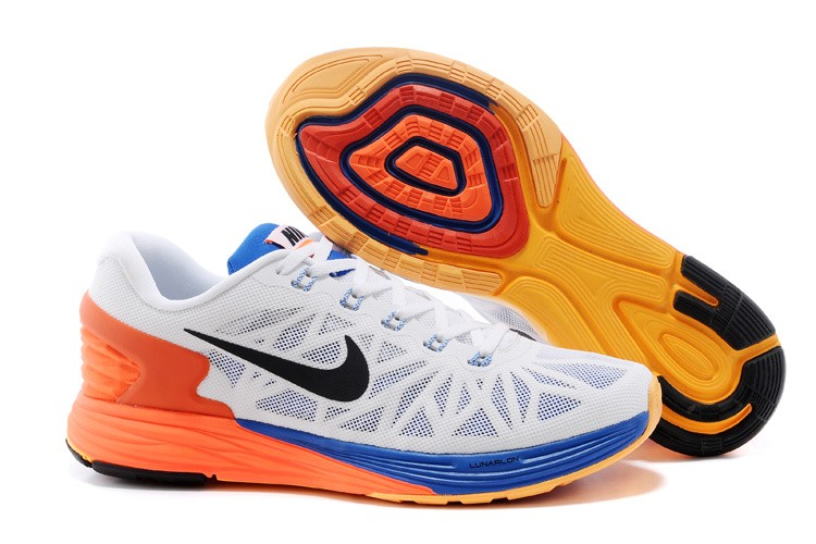 Nike Lunarglide 6 Mens Running Shoes White Royalblue Orange