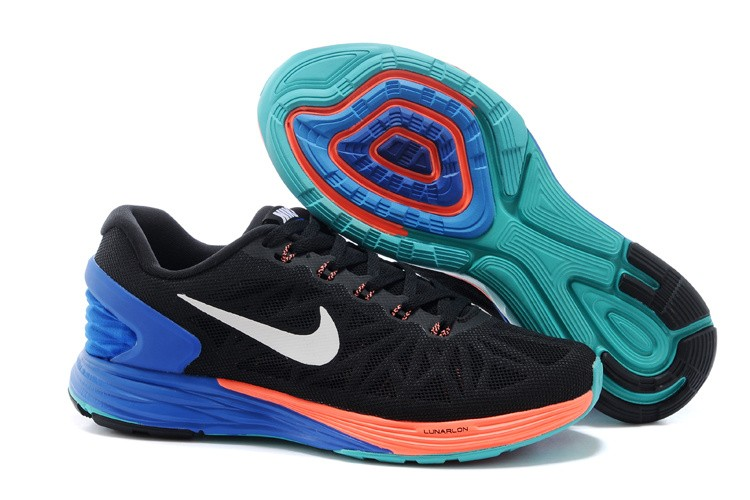 Nike Lunarglide 6 Womens Running Shoes Black Orange Royalblue