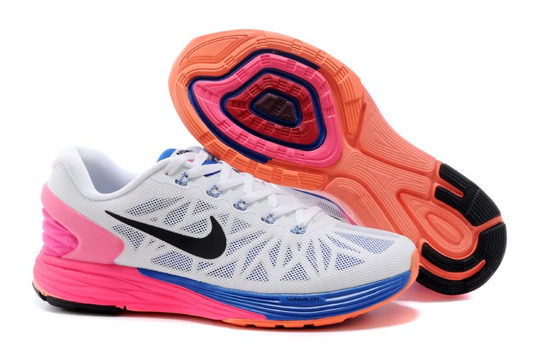 Nike Lunarglide 6 Womens Running Shoes White Blue Pink