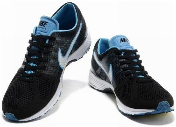 Nike Lunarspider LT+ 2 Mens Black White Sky Blue Running Shoes