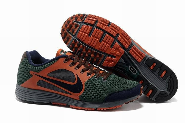 Nike Lunarspider LT+ 2 Mens Dark Green Orange Red Running Shoes