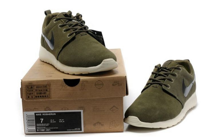 Nike Roshe Run Mens Running Shoes Army Green White Black
