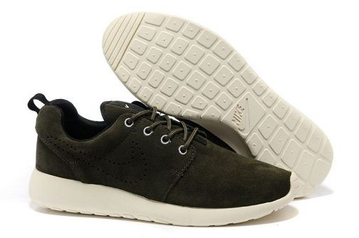 Nike Roshe Run Mens Running Shoes Army Green White