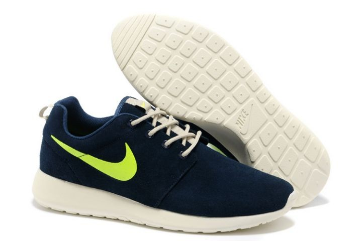 Nike Roshe Run Mens Running Shoes Blue Marine White Fluorescent Green