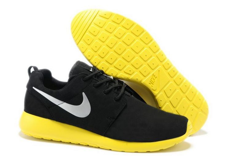 Nike Roshe Run Mens Running Shoes Coal Black Lemon Silver