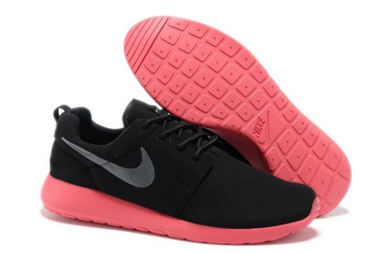 Nike Roshe Run Mens Running Shoes Coal Black Red Silver