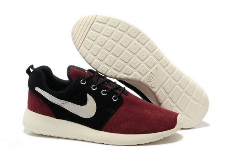 Nike Roshe Run Mens Running Shoes Dark Red Black White